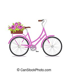 Purple retro bicycle with bouquet in floral box on trunk for...