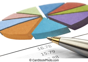 Pen over Pie Chart - Pen over a financial pie chart....