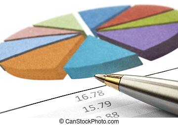 Pen over Pie Chart - Pen over a financial pie chart....