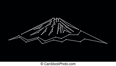 Logo mountain (Fuji). White lines and points. Black...