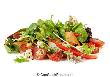 Salad, isolated on white background. Delicious healthy...