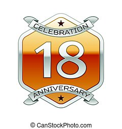 Eighteen years anniversary celebration silver logo with...