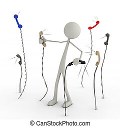 Figure in chaos of telephones - 3d figure in choas of...