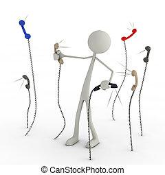 figura, caos, teléfonos