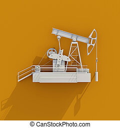 3d White Oil Rig Icon on Orange Background - 3d Oil Drilling...