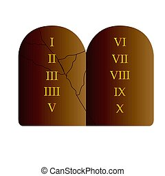Stone with commandments - Isolated stone with the 10...