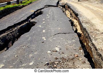 Destroyed by a landslide road