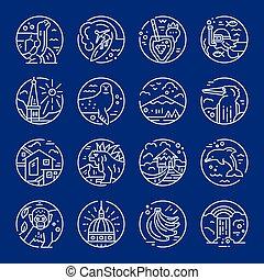 Ecuador symbols icons - Line icons with Ecuador symbols made...