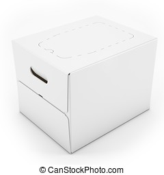 3d white blank carton box on white background 3D...