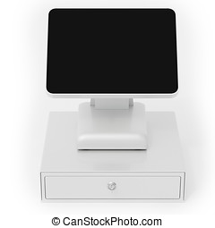3d point of sale terminal with touch screen on white...