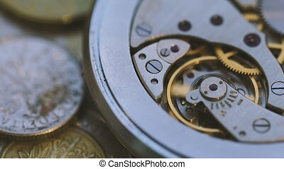 Old Watch Mechanism Close Up