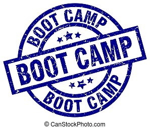 boot camp blue round grunge stamp