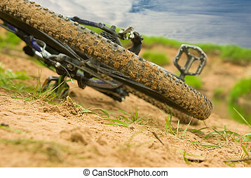 Bicycle expedition - Modern mountain bicycle after driving...