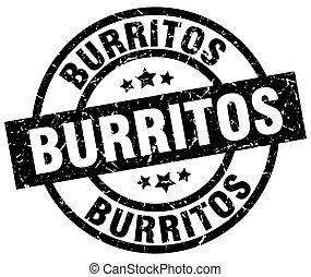 burritos round grunge black stamp