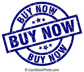 buy now blue round grunge stamp