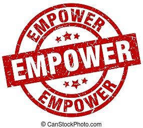empower round red grunge stamp