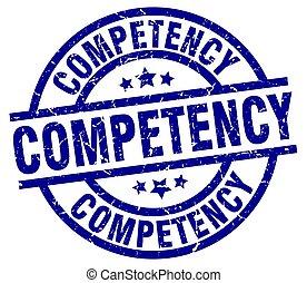 competency blue round grunge stamp