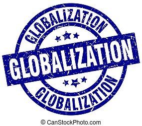 globalization blue round grunge stamp