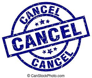 cancel blue round grunge stamp