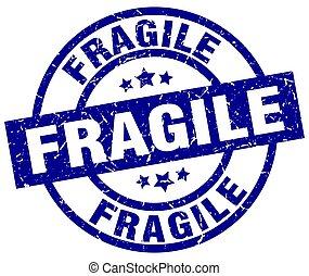 fragile blue round grunge stamp