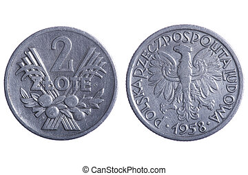 Polska coins - object on white - Polska coins close up