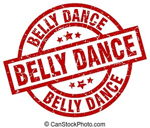 belly dance round red grunge stamp