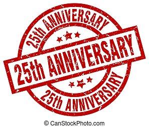 25th anniversary round red grunge stamp