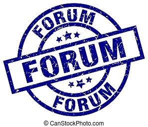 forum blue round grunge stamp