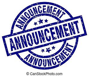 announcement blue round grunge stamp