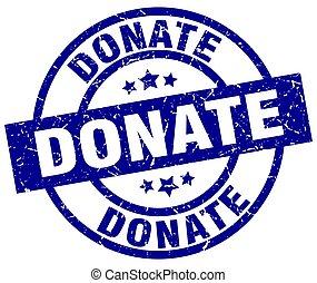 donate blue round grunge stamp