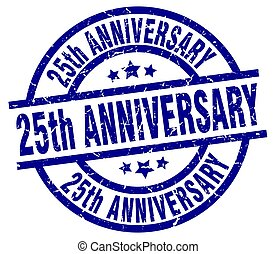 25th anniversary blue round grunge stamp
