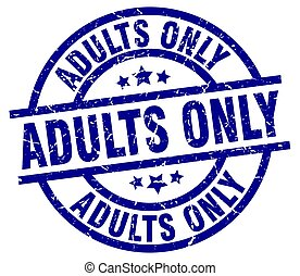 adults only blue round grunge stamp