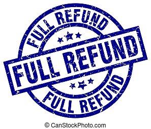 full refund blue round grunge stamp