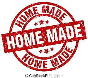 home made round red grunge stamp