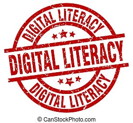 digital literacy round red grunge stamp