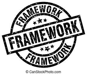 framework round grunge black stamp