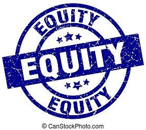 equity blue round grunge stamp