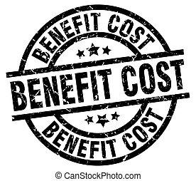 benefit cost round grunge black stamp