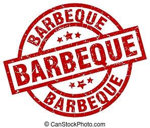barbeque round red grunge stamp