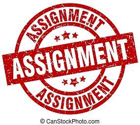 assignment round red grunge stamp