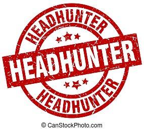 headhunter round red grunge stamp