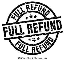 full refund round grunge black stamp