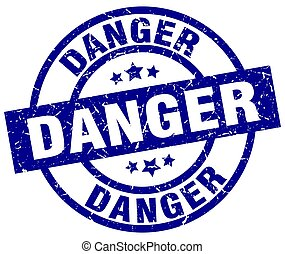 danger blue round grunge stamp