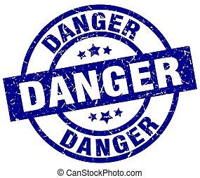 danger blue round grunge stamp
