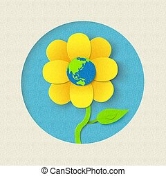 Earth day paper cut out flower world concept