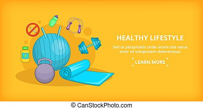 Fitness banner horizontal lifestyle, cartoon style