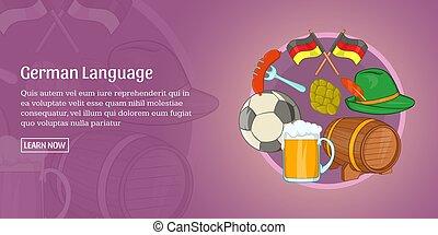 German language banner horizontal, cartoon style - German...