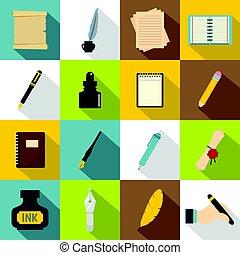 Writing icons set items, flat style