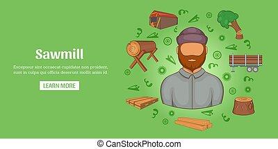 Sawmill banner horizontal, cartoon style - Sawmill banner...