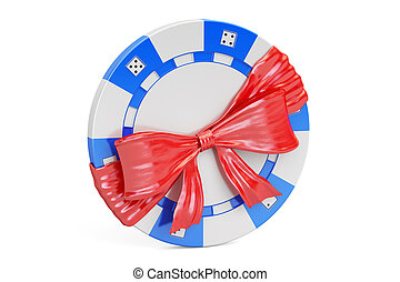 Casino token with bow and ribbon, gift concept. 3D rendering...